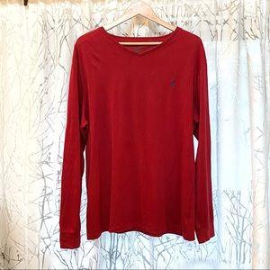 Polo Ralph Lauren red V-neck long sleeve shirt